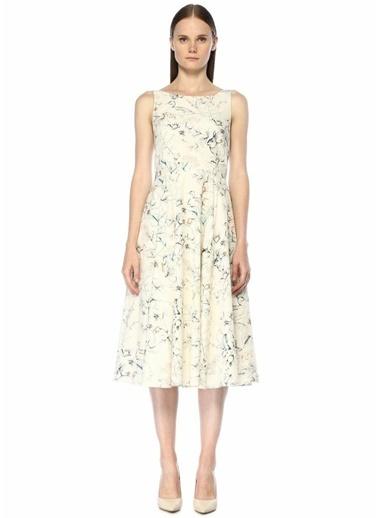 Beymen Club Pastoral Desenli Sırtı Bağcıklı Midi Elbise Beyaz